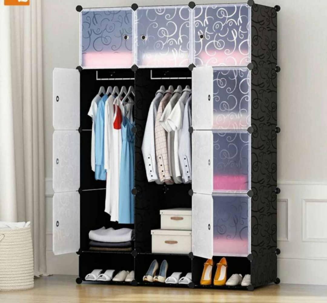 3-Column Plastic Wardrobe-Black