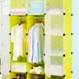 3-Column Plastic Wardrobe Lime-Green