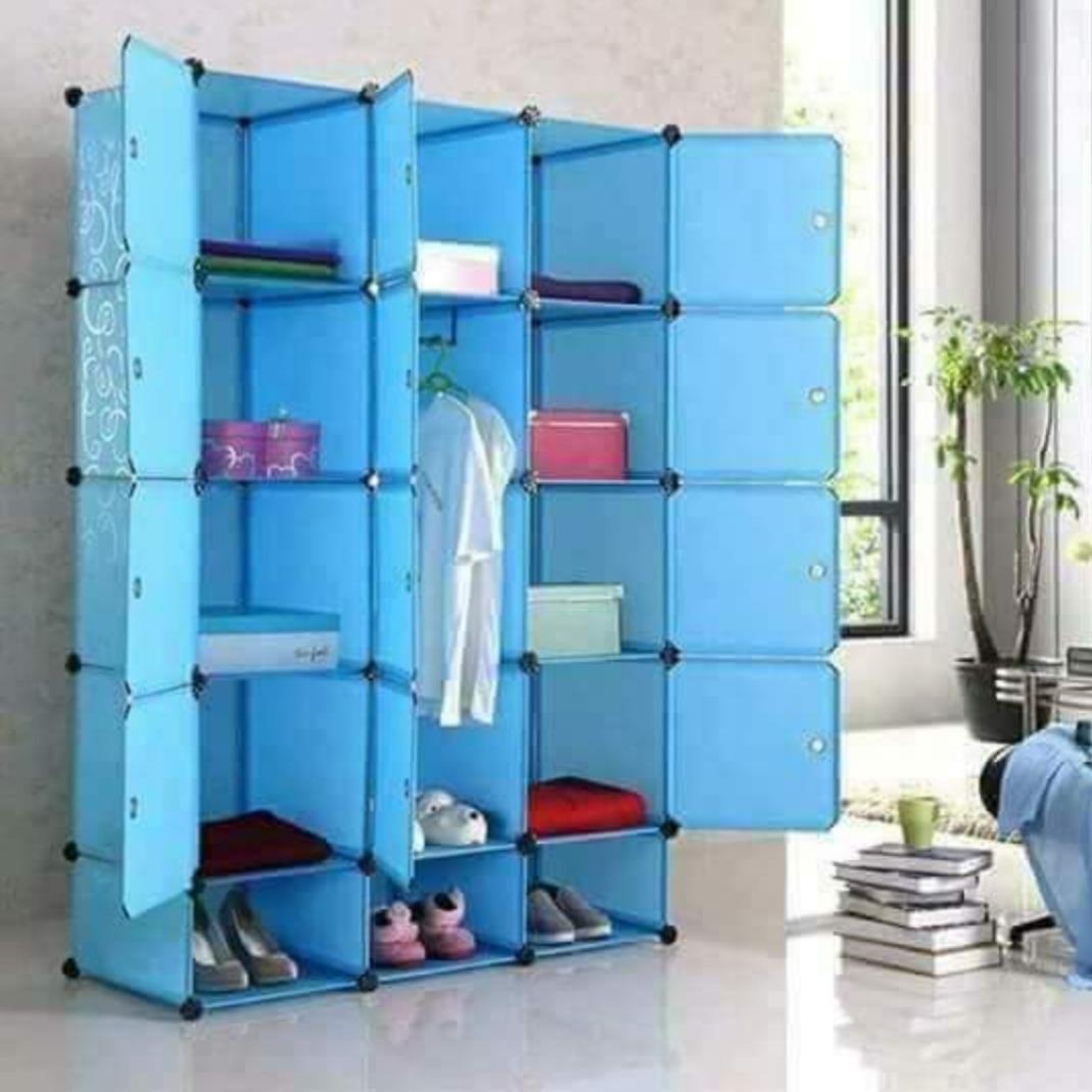 3-Column Plastic Wardrobe-Blue