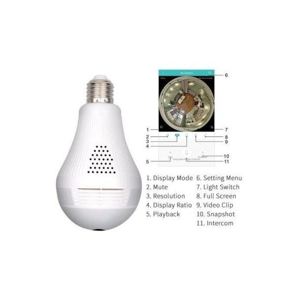 Panorama Nanny Camera - Wi-Fi Light Bulb - 360 Degrees Wide Angle
